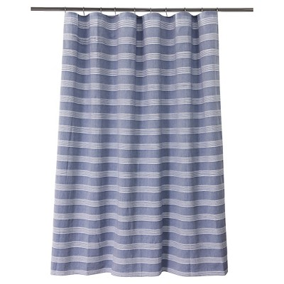 Chambray Stripe Shower Curtain Blue/White - Fieldcrest™
