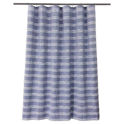 Chambray Stripe Shower Curtain Blue White