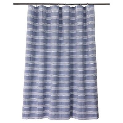 chambray stripe shower curtain bluewhite fieldcrest
