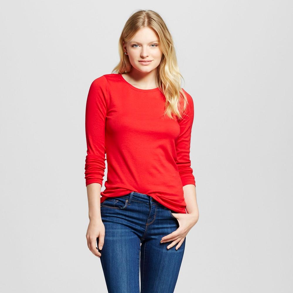 Women's Long Sleeve Crew T-Shirt - Merona Red Pop Xxl