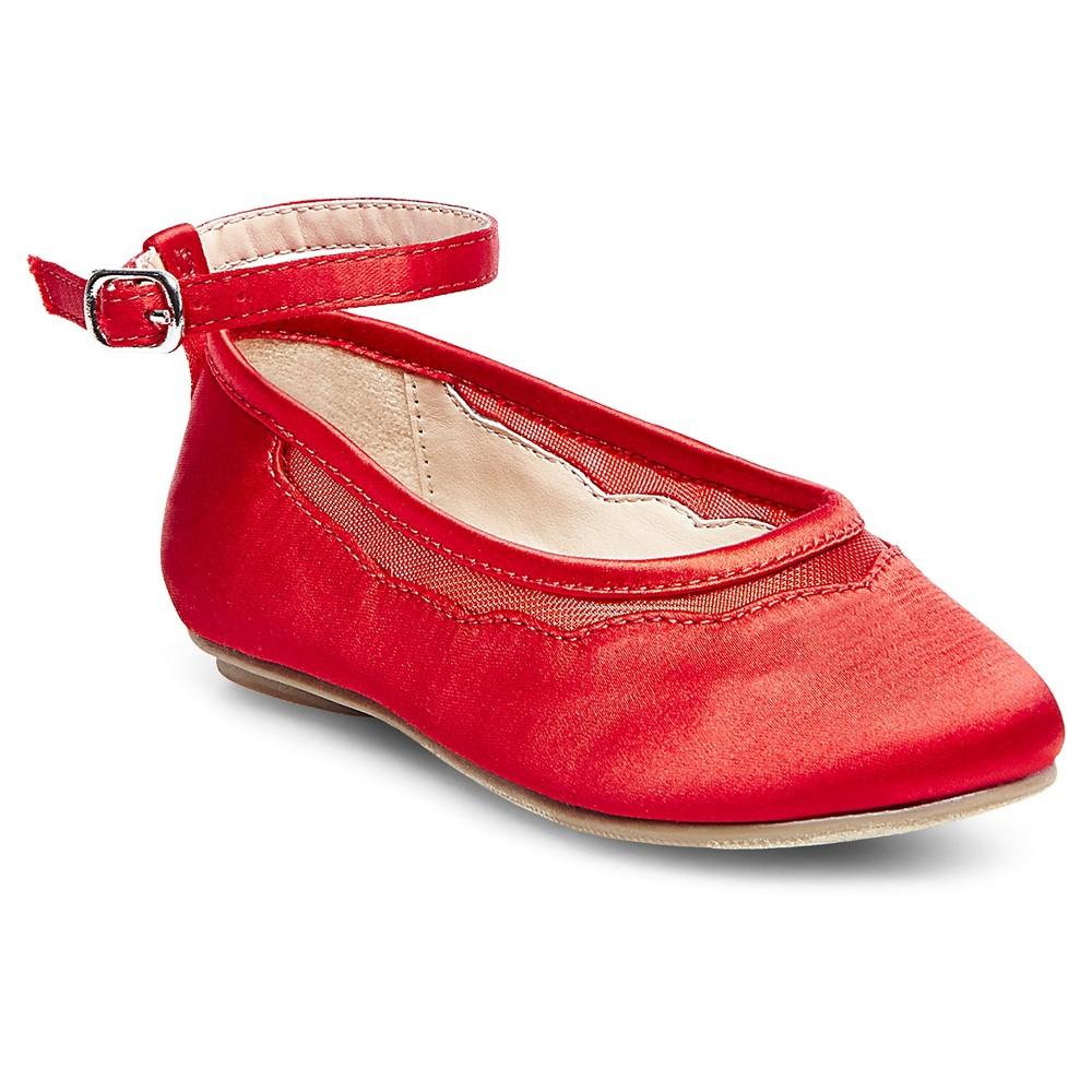 Toddler Girls Jamie Satin Ballet Flats - Tevolio Red 5