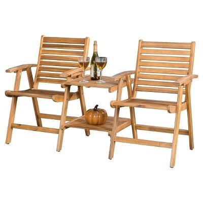 Bernardo Acacia Wood Patio Adjoining Chairs   Brown Patina   Christopher  Knight Home