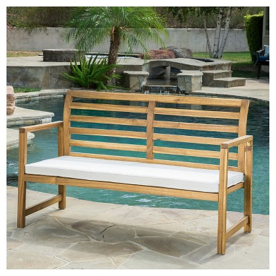 Emilano Acacia Wood Patio Loveseat Bench With Cushion   Natural Stained    Christopher Knight Home