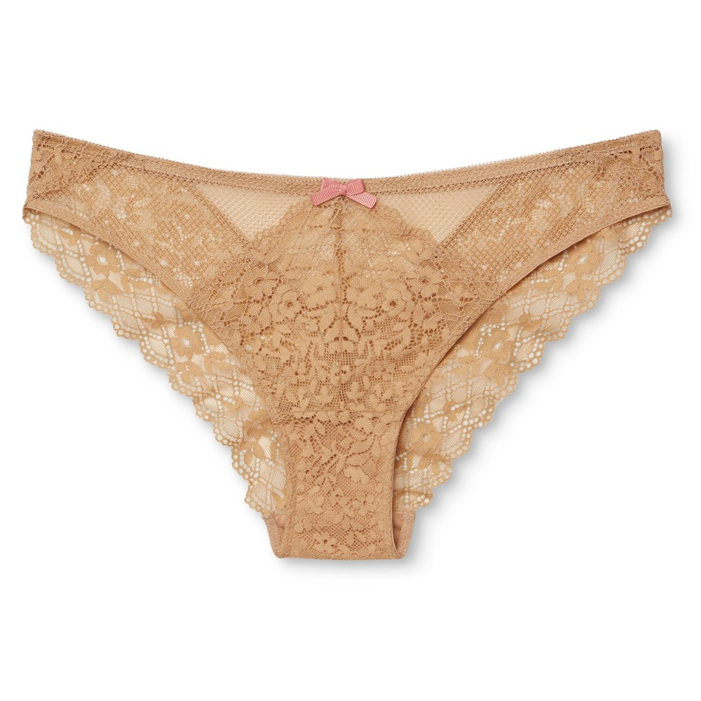 Womens Lace Cheeky Bikini Buff Beige L