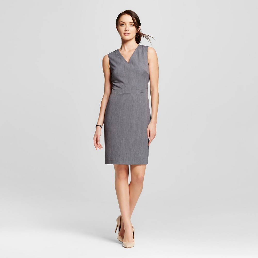 Womens Sleeveless Bi- Stretch Twill Occupational Dress - Merona, Size: 8, Light Gray