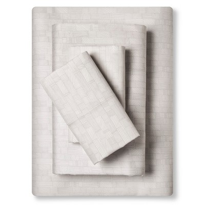 Sheet Set (California King)Etched Blocks Almond Cream 300 Thread Count - Nate Berkus™