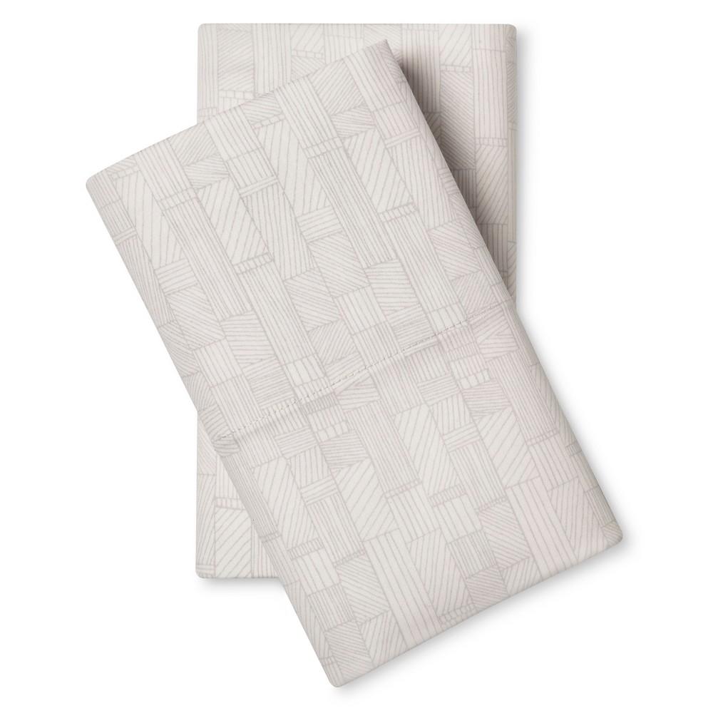 Pillowcase Set (Standard) Etched Blocks Almond Cream 300 Thread Count – Nate Berkus
