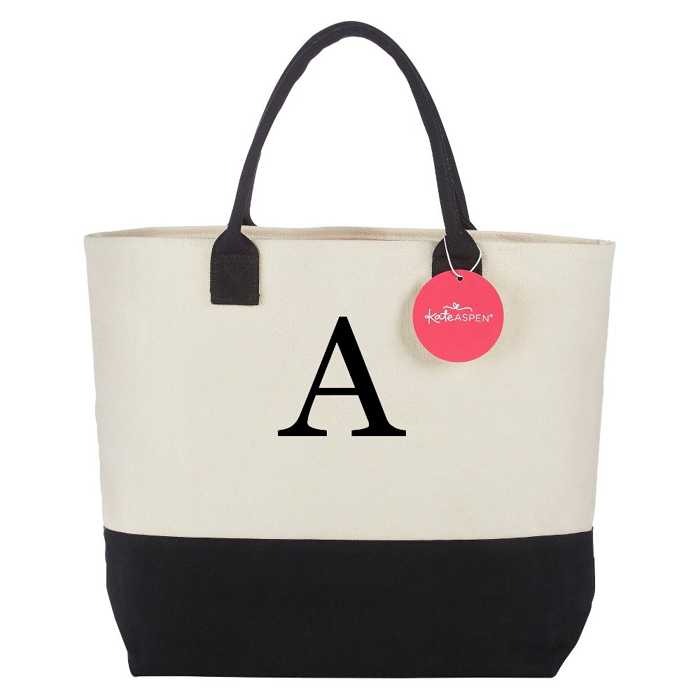Tote Bag - Classic Monogrammed Black White - A, Womens, Multicolored