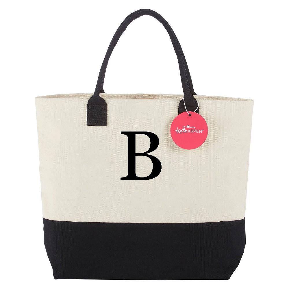 Tote Bag - Classic Monogrammed Black White - B, Womens, Multicolored