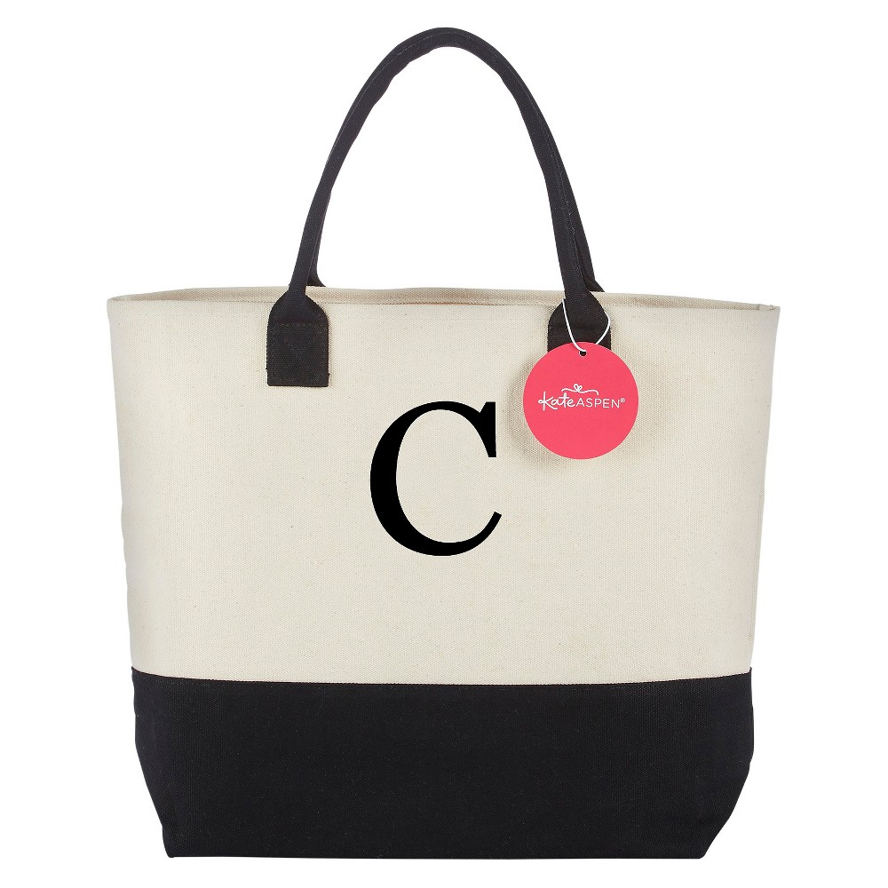 Tote Bag - Classic Monogrammed Black White - C, Womens, Multicolored