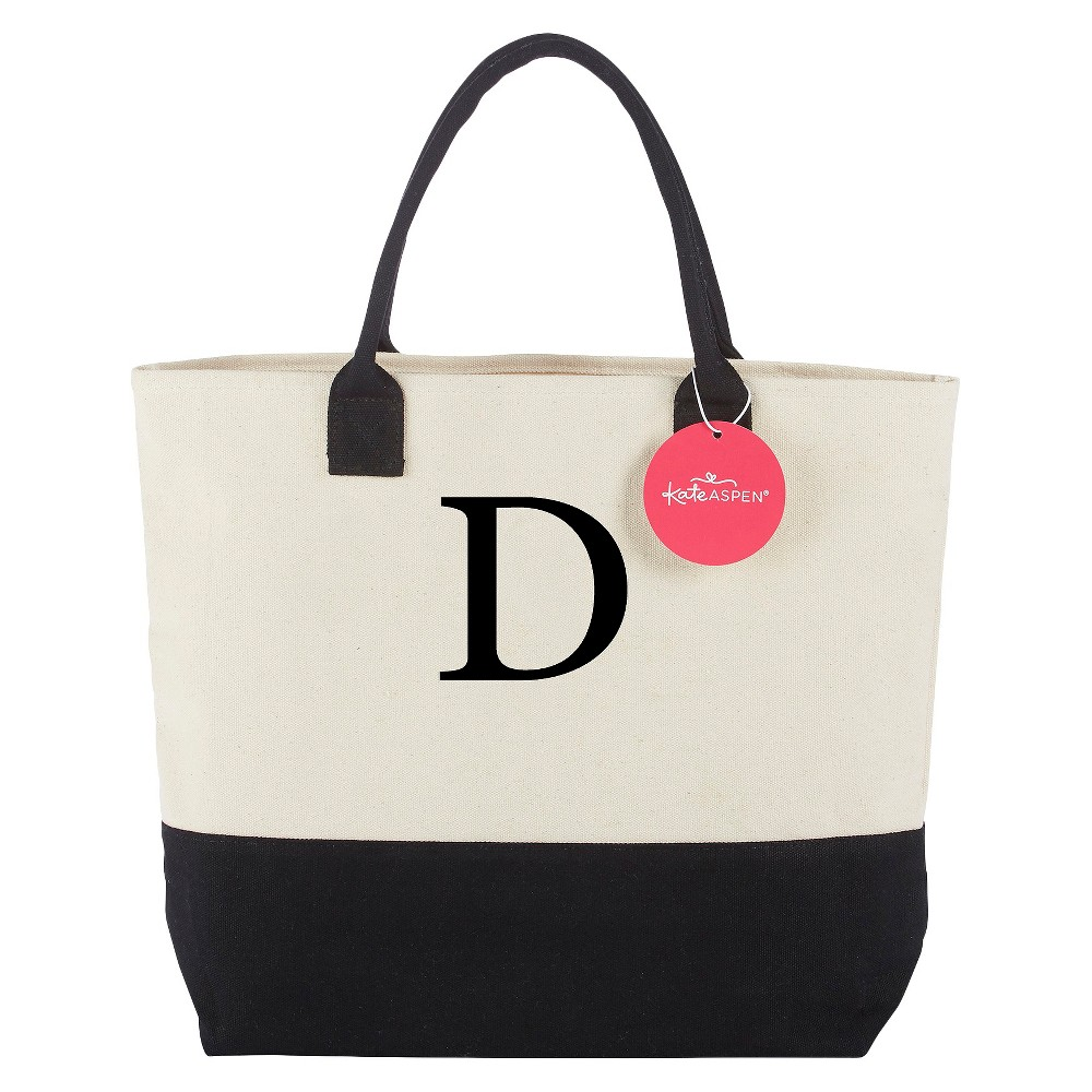 Tote Bag - Classic Monogrammed Black White - D, Women's, Multicolored