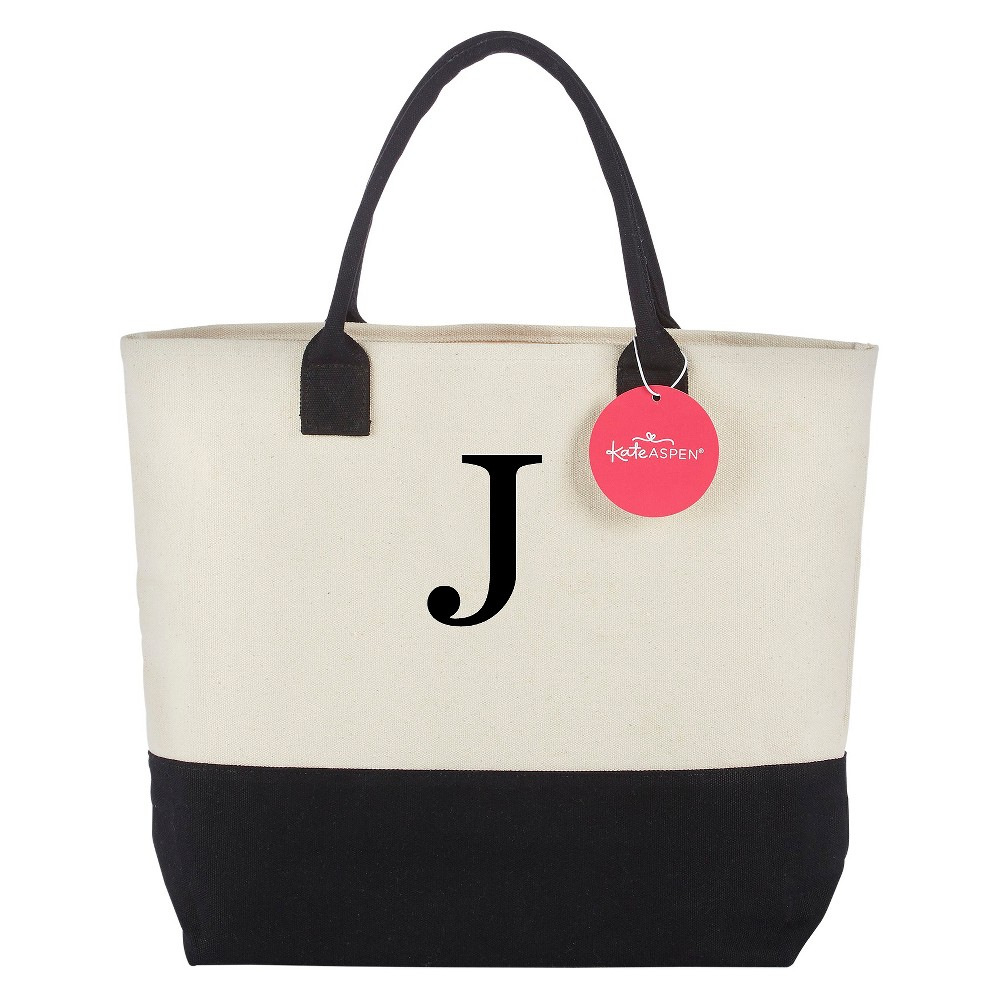 Tote Bag - Classic Monogrammed Black White - J, Womens, Multicolored