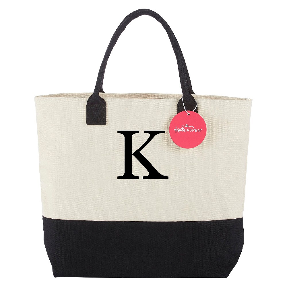 Tote Bag - Classic Monogrammed Black White - K, Womens, Multicolored