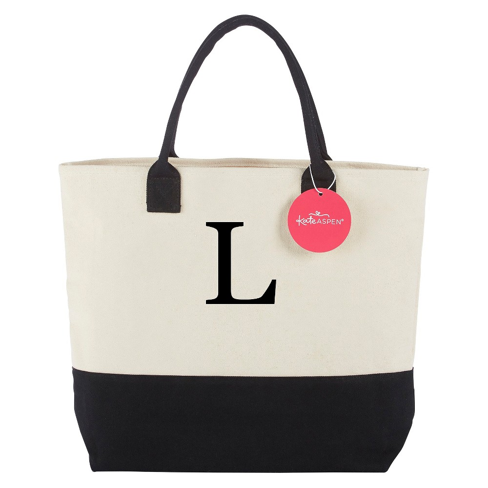 Tote Bag - Classic Monogrammed Black White - L, Women's, Multicolored