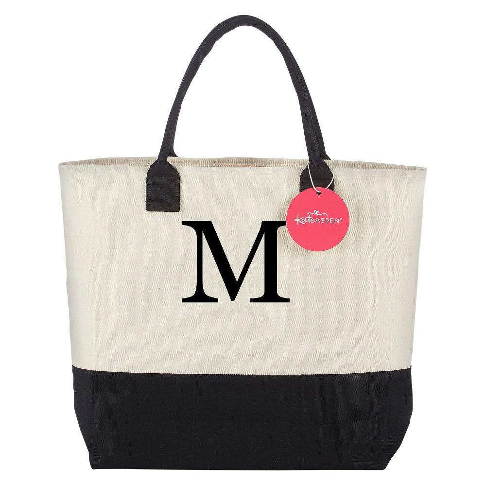 Tote Bag - Classic Monogrammed Black White - M, Womens, Multicolored