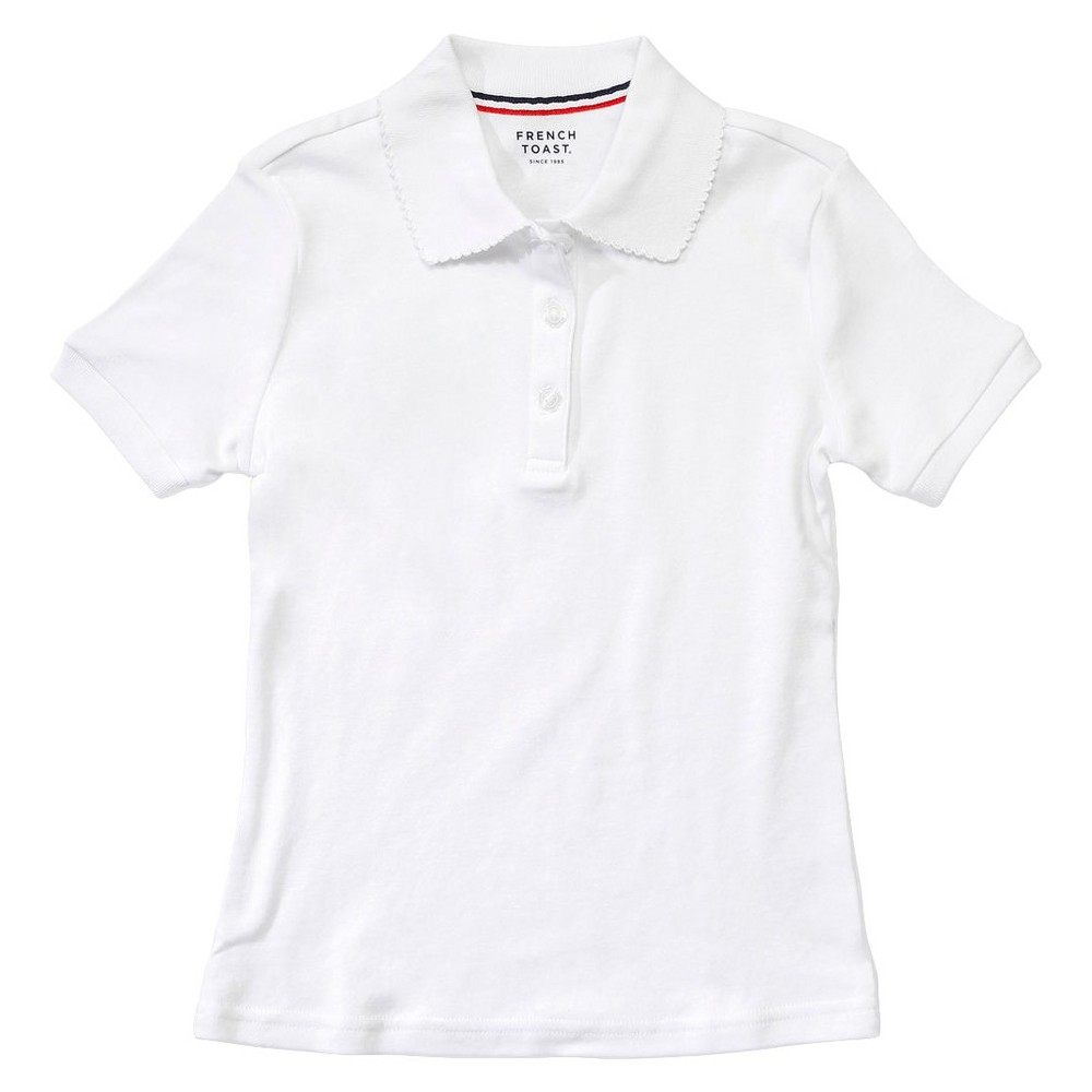 French Toast Girls' Short Sleeve Interlock Polo M - White