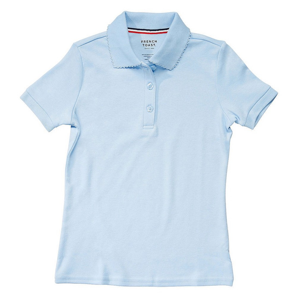 French Toast Girls Short Sleeve Interlock Polo - Blue S, Lite Blue