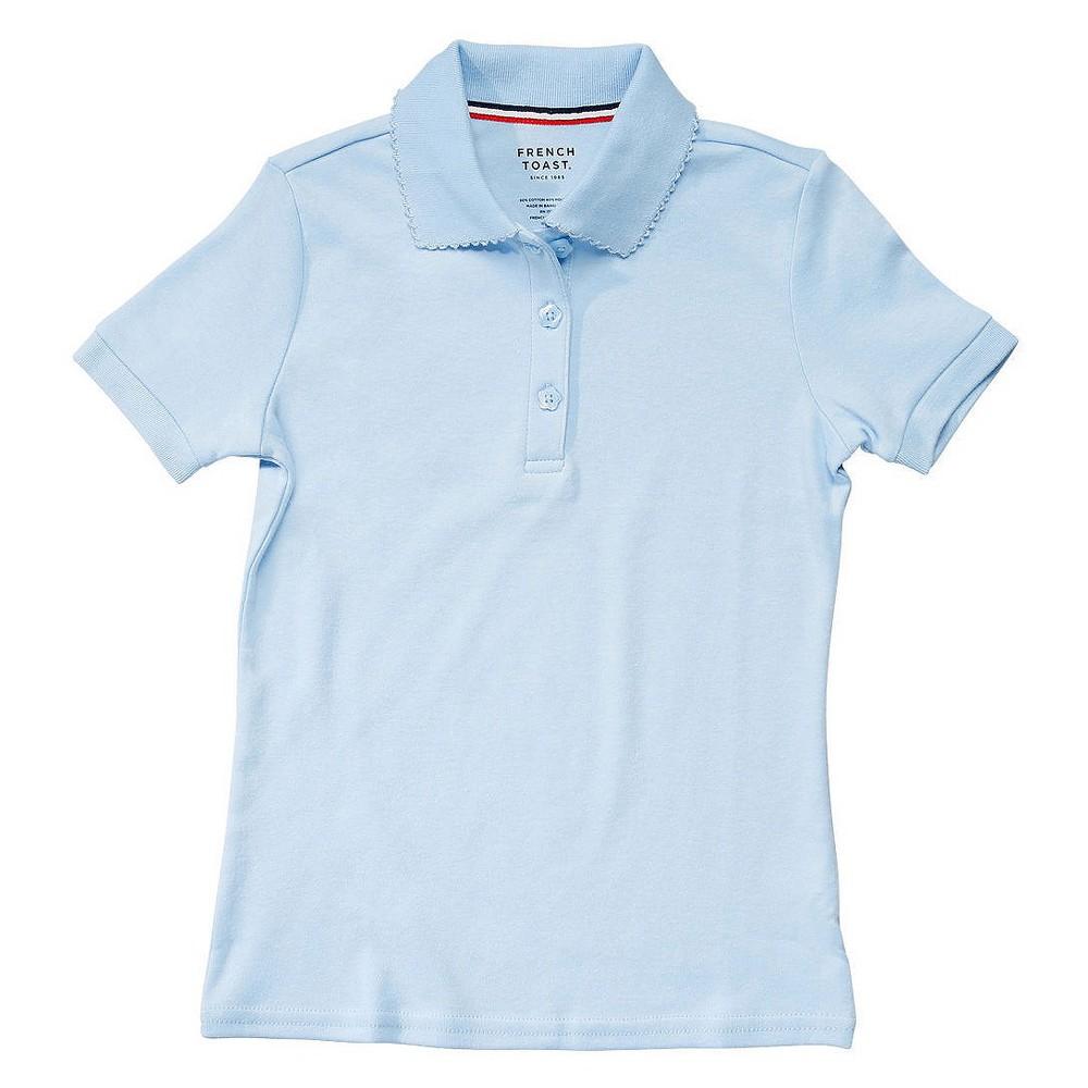 French Toast Girls Short Sleeve Interlock Polo - Blue L, Lite Blue