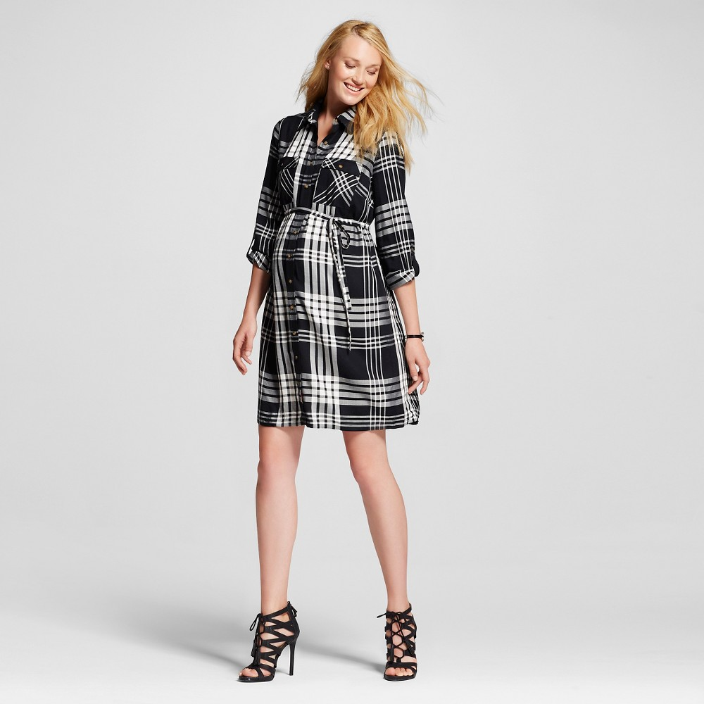 Maternity Plaid Shirt Dress Black & White Plaid – XL – Liz Lange for Target, Women's