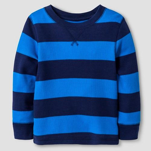Toddler Boys' Long Sleeve Henley Shirt Cat & Jack - Nightfall Blue 2T, Toddler Boy's