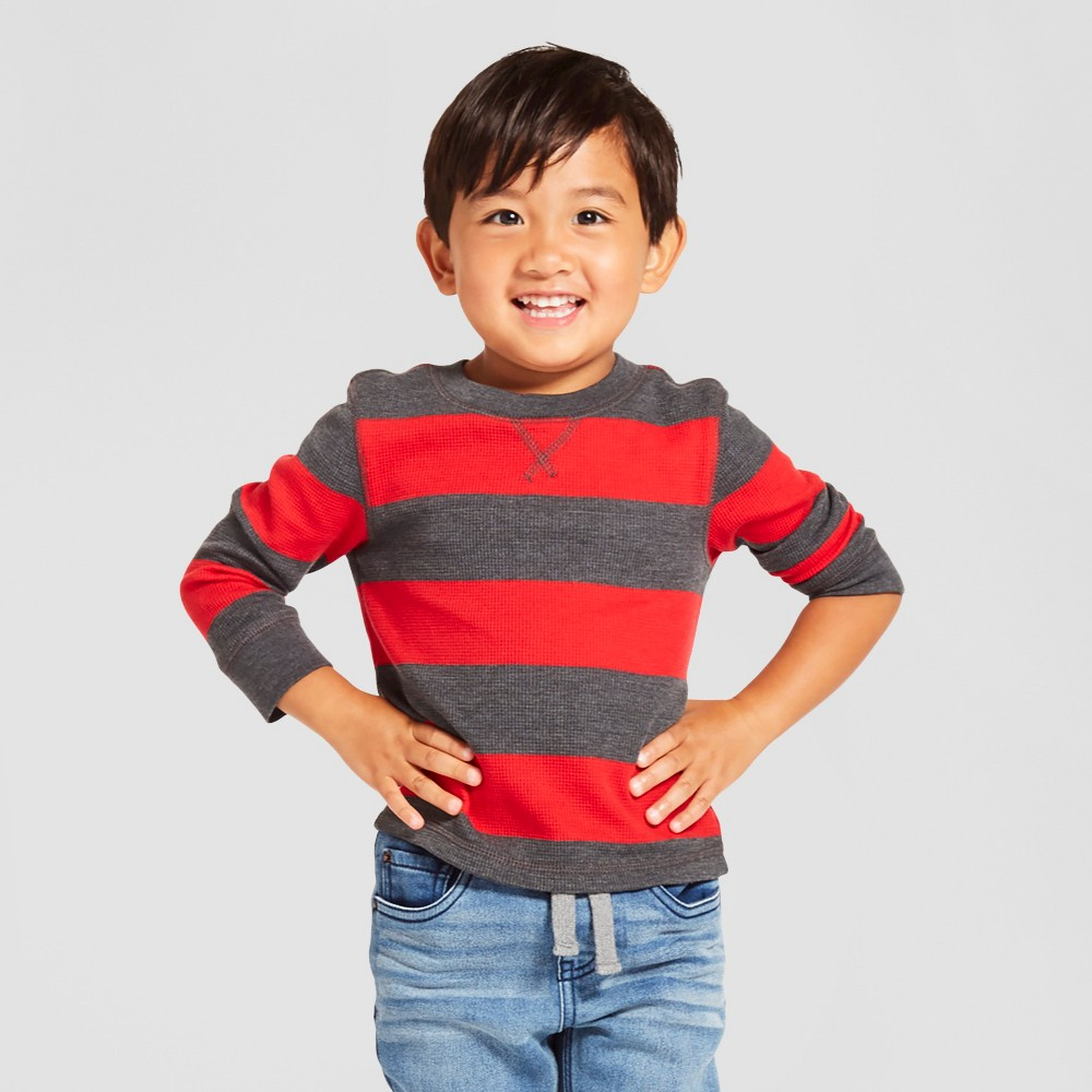 Toddler Boys Long Sleeve Henley Shirt - Cat & Jack Red 7