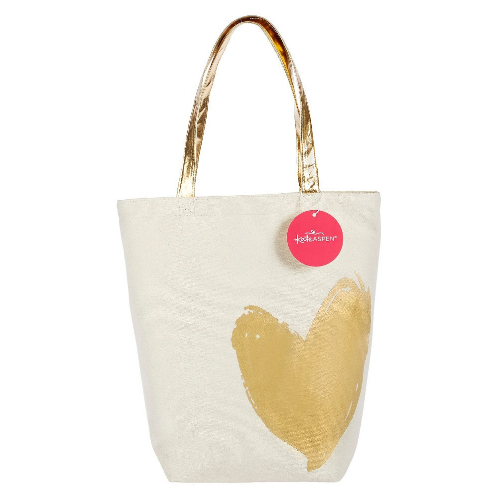 Metallic Gold Heart Tote Bag, Womens, Multi-Colored