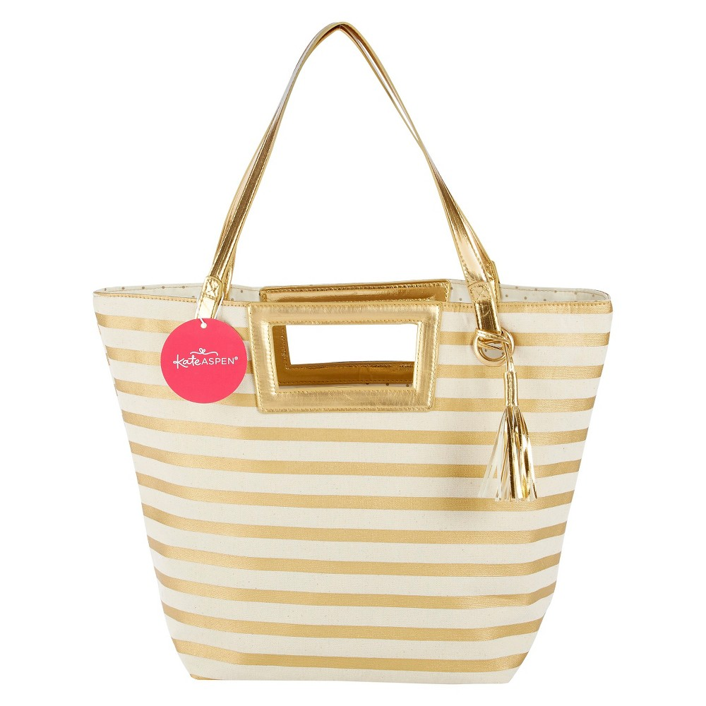 Striped Metallic Gold Tote With Tassel, Womens, Multi-Colored