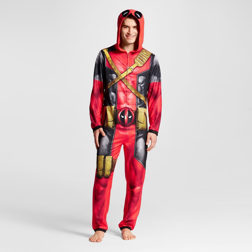 Mens Deadpool Hooded Union Suits Red, Size: Medium