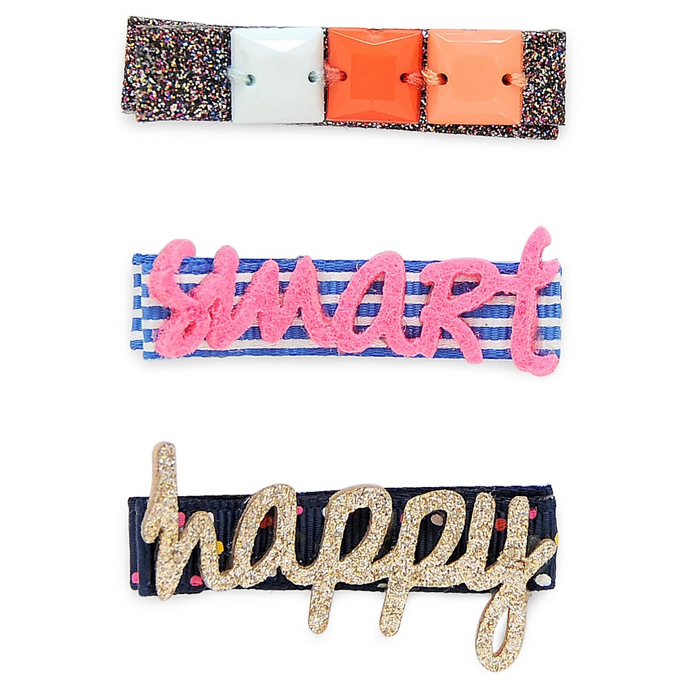 Girls 3-Pack Smart Girl Hair Clips - Cat & Jack Multicolor, Dazzle Pink