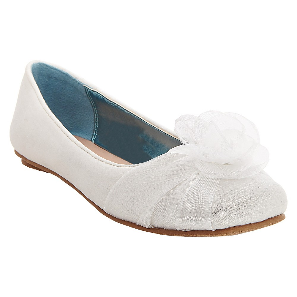 Girls Alicea Satin Floral Ballet Flats Tevolio - White 5