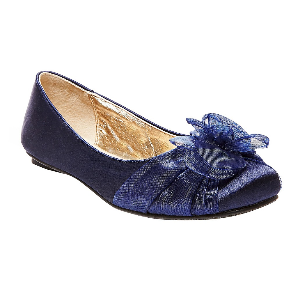Girls Alicea Satin Floral Ballet Flats Tevolio - Navy (Blue) 5
