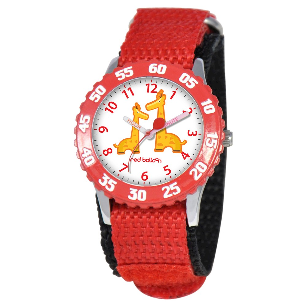Boys Red Balloon Stainless Steel Time Teacher Watch - Red