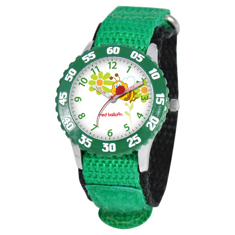 Boys Red Balloon Stainless Steel Time Teacher Watch - Green