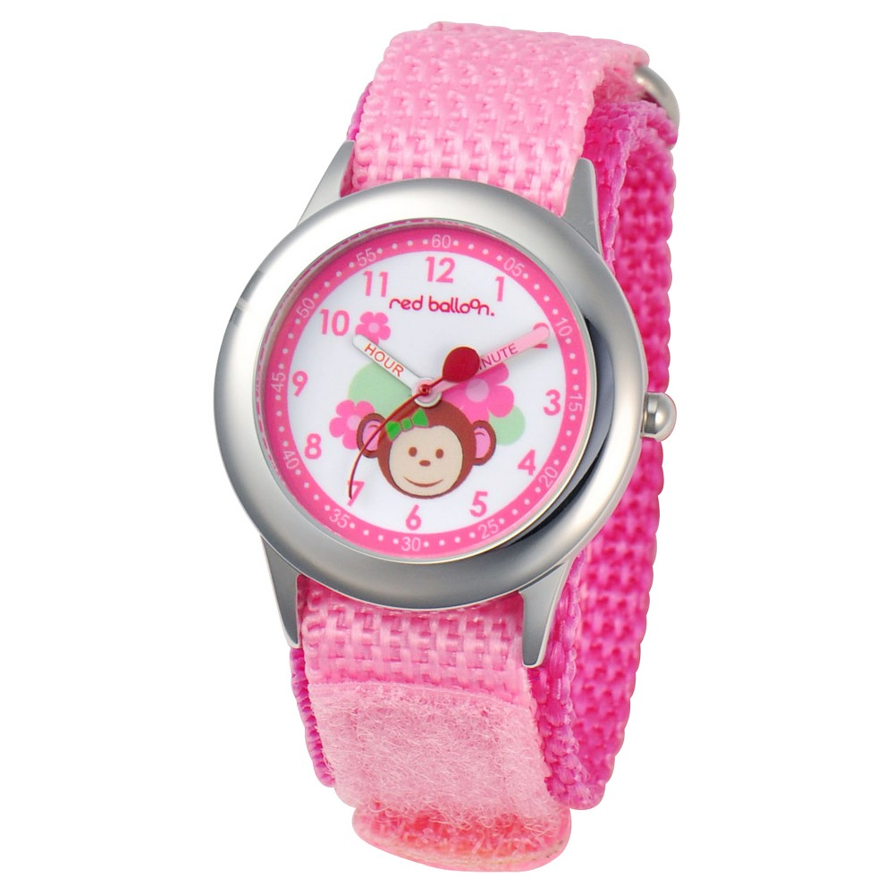 Girls' Red Balloon Pretty Girl Monkey Stainless Steel Time Teacher Watch - Pink