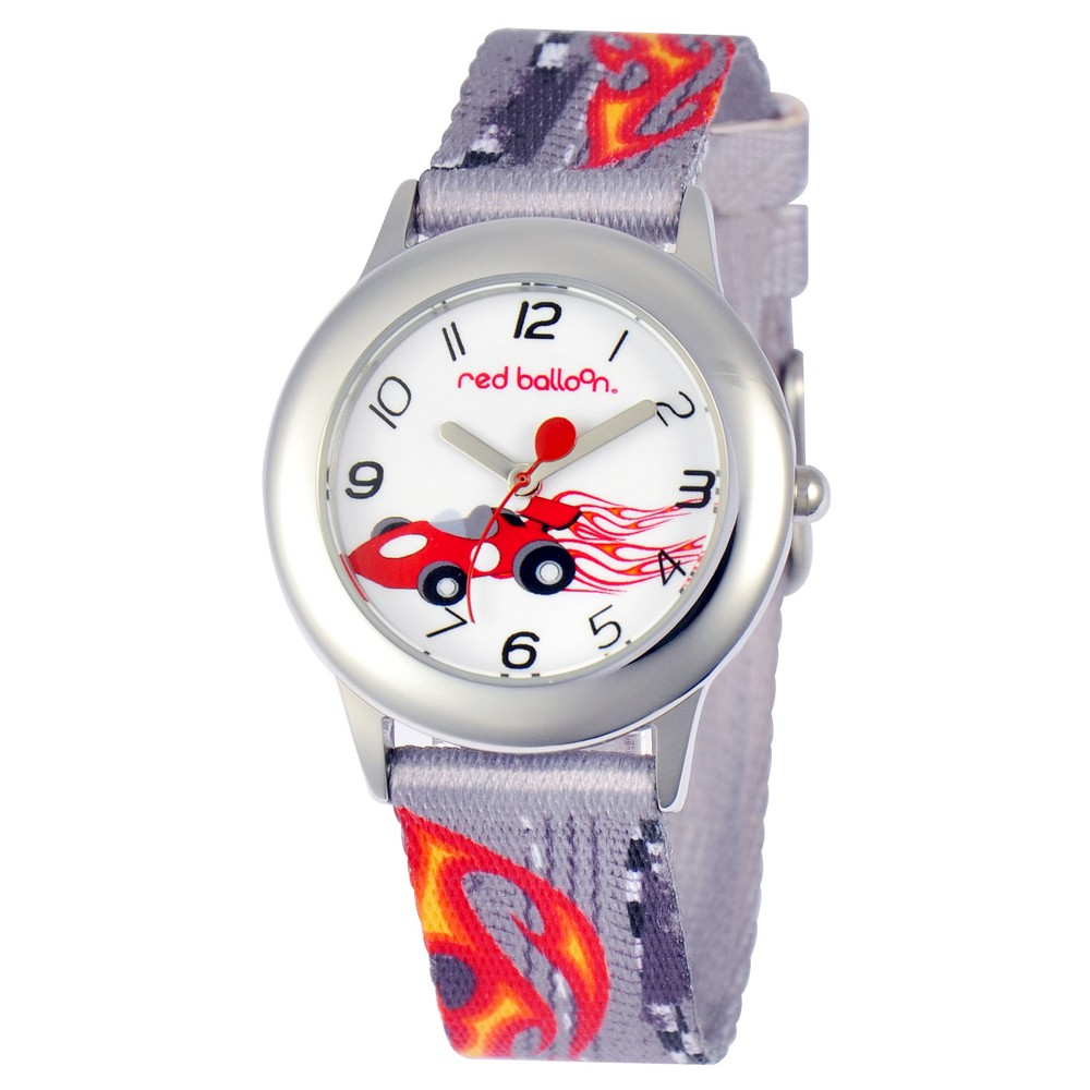 Boys Red Balloon Speed Racing Stainless Steel Watch - Gray