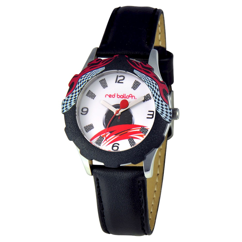 Boys Red Balloon Speed Racing Stainless Steel Watch - Black