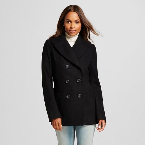Women's Wool Blend Pea Coat Black L - Merona