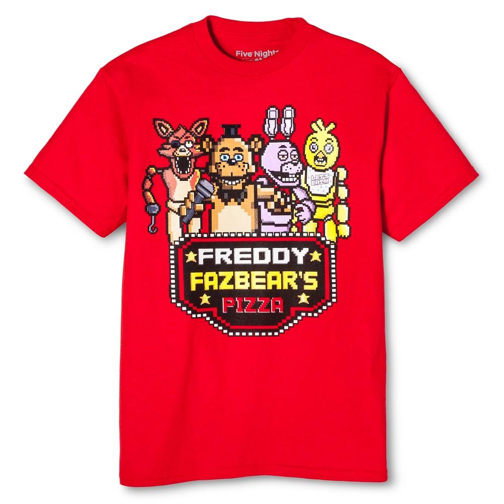 Boys Freddy Fazbears Pizza T- Shirt, Size: XL, Red