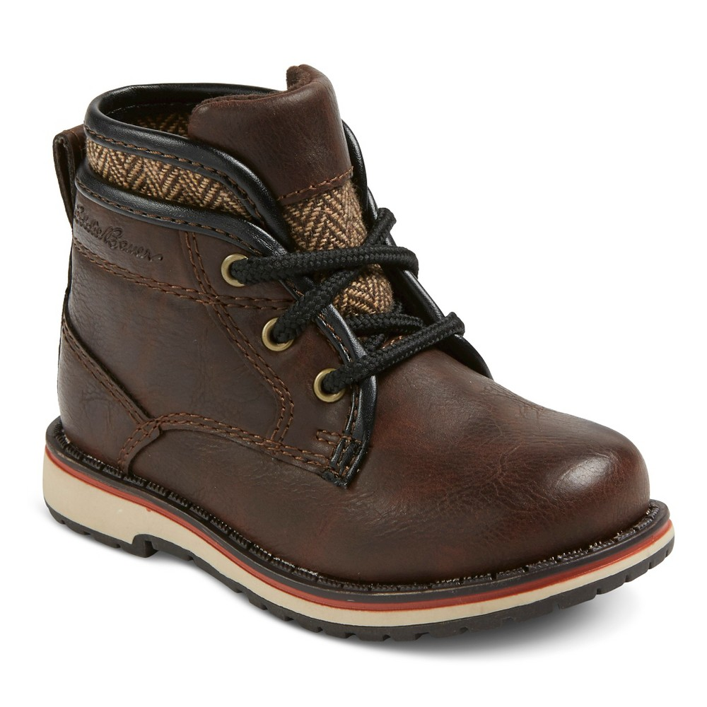 Eddie Bauer Toddler Boys Sweater Trim Casual Boot Booties - Brown 8