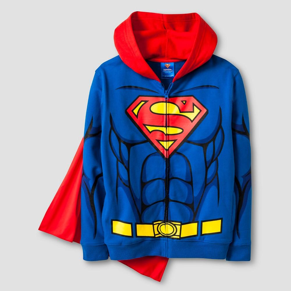 Boys Superman Costume Hooded Sweatshirt - Blue M