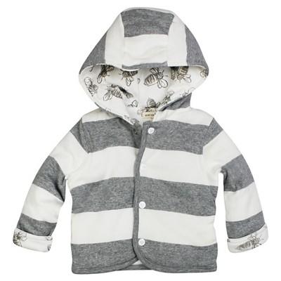 Burt's Bees Baby Boys Hooded Reversible Jacket - Grey Bee 0-3M