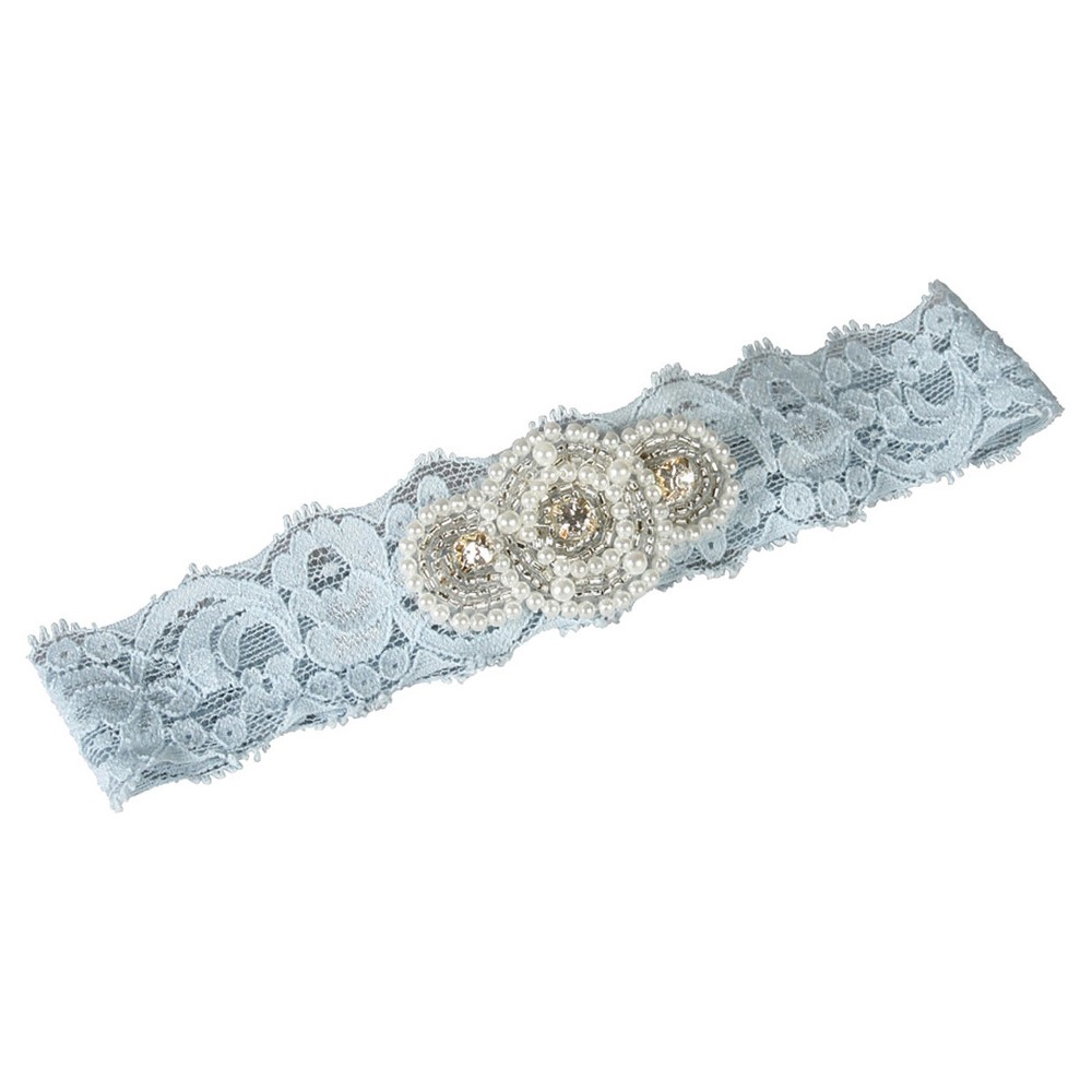 Piper Lace Blue Garter Belts, Womens, Size: Large