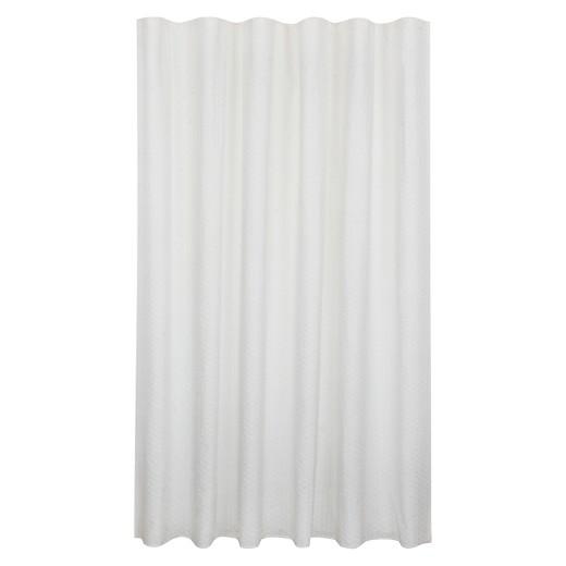 Bubble Texture Natural Shower Curtain White