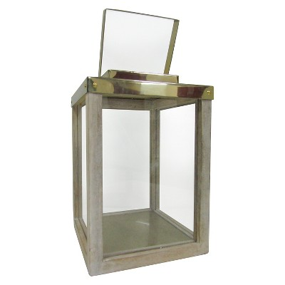 Small Wooden Lantern with Steel Brass Handle - Smith & Hawken™