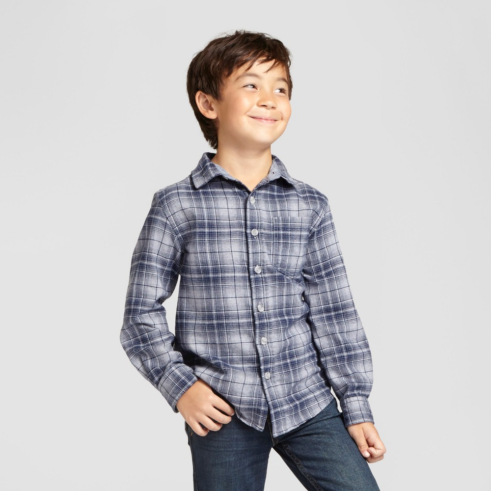Boys Long Sleeve Button Down Flannel Shirt - Cat & Jack Gray Xxl Husky
