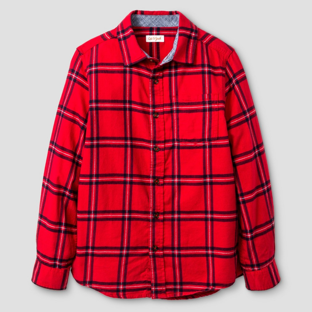 Boys Long Sleeve Button Down Flannel Shirt - Cat & Jack Red L Husky