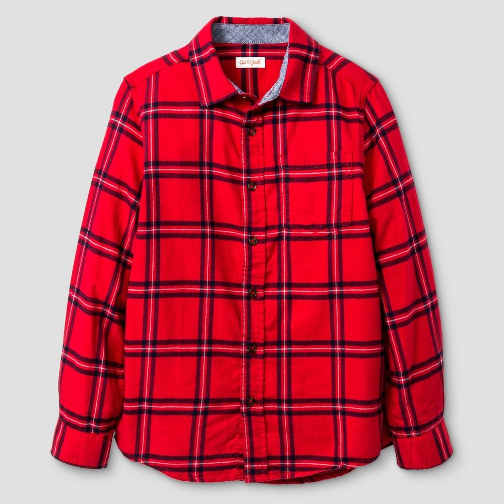 Husky Boys Long Sleeve Button Down Flannel Shirt - Cat & Jack Red XL, Size: XL Husky