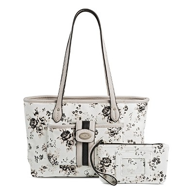 Bolo Women's Faux Leather Tote Handbags with Floral Design - White