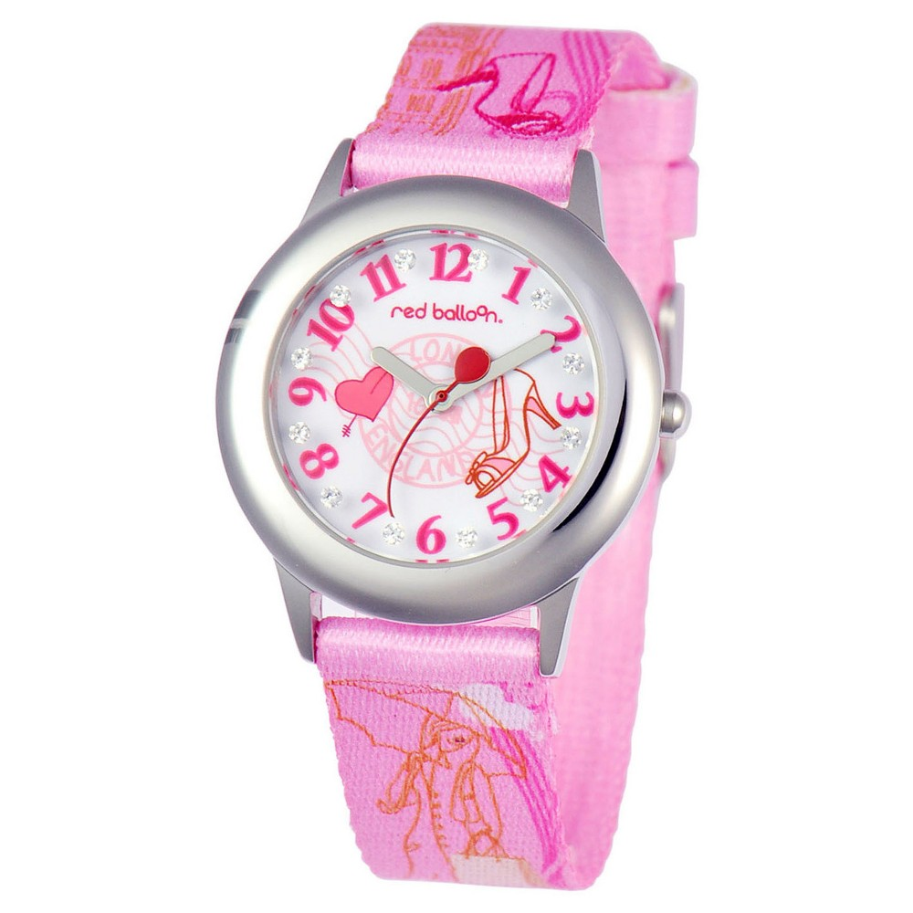 Girls' Red Balloon London Shopping Stainless Steel Glitz Watch - Pink