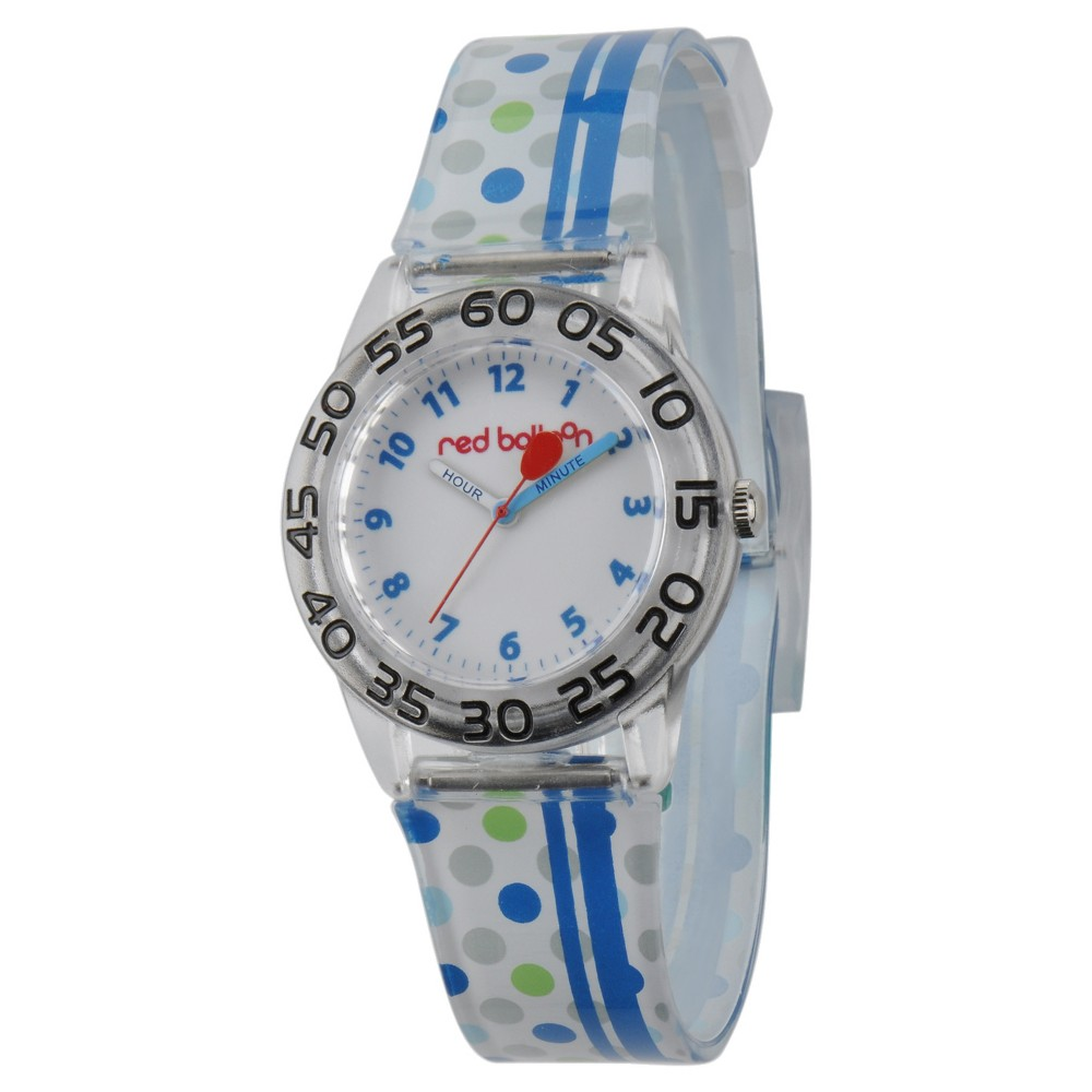 Boys Red Balloon Plastic Time Teacher Watch - White